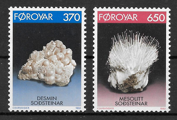 filatelia minerales Feroe 1992