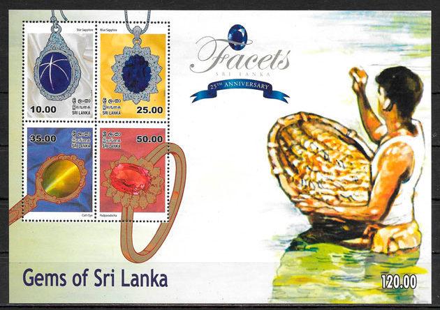 filatelia colección minerales Sri Lanka 2015