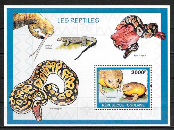 colección sellos fauna Togo 2010