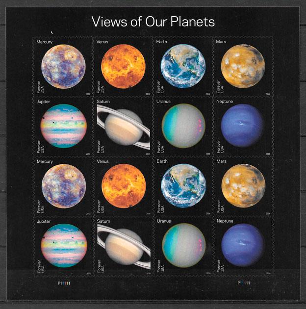 colección sellos espacio USA 2016