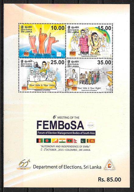 selos temas varios Sri Lanka 2015