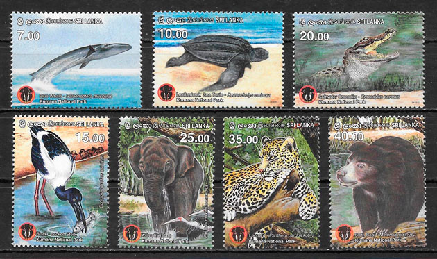 colección sellos Parques Naturales Sri Lanka 2015