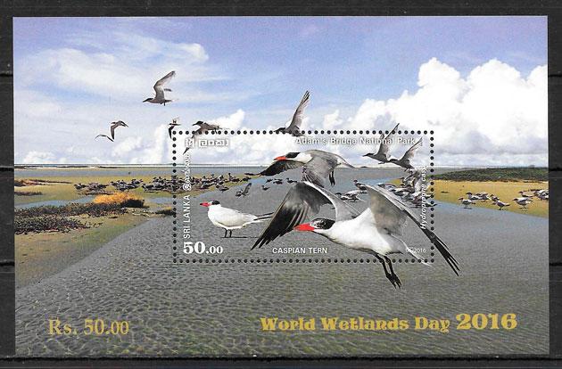 colección sellos fauna Sri Lanka 2016