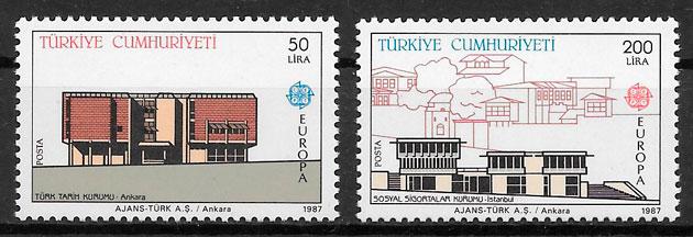 filatelia coleccion europa Turquia 1987