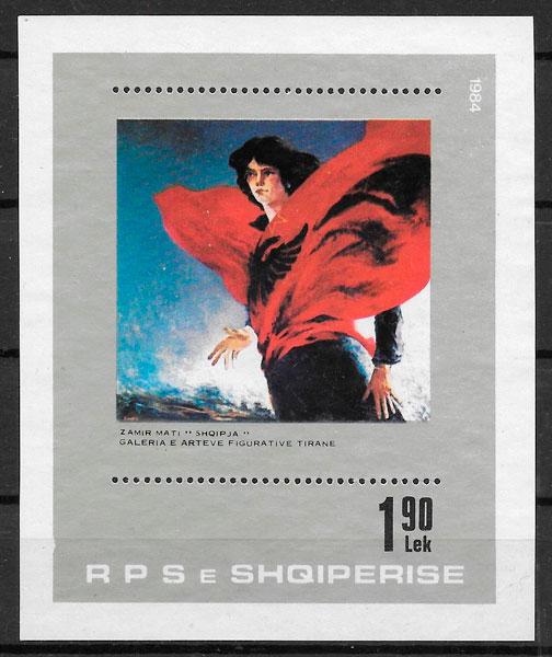 sellos arte Albania 1984