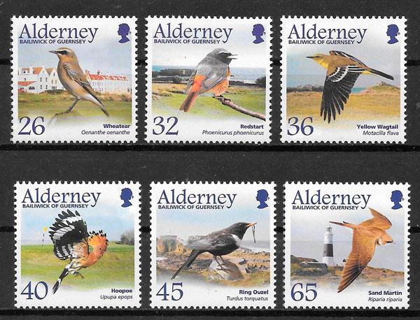 filatelia colección fauna Alderney 2004
