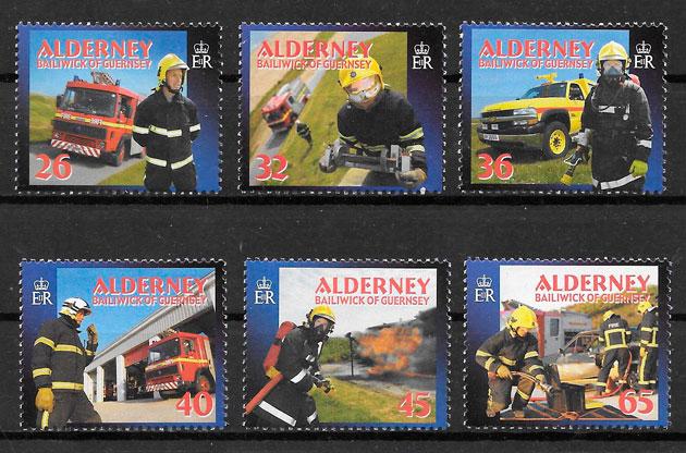 colección sellos transporte Alderney 2004