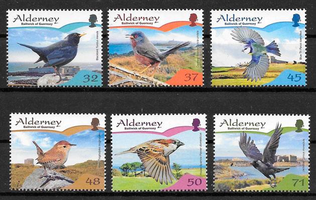 filatelia colección fauna Alderney 2007