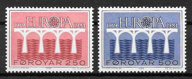 sellos Europa Feroe 1984