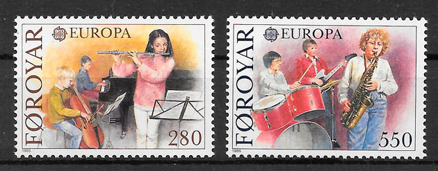 sellos Europa Feroe 1985