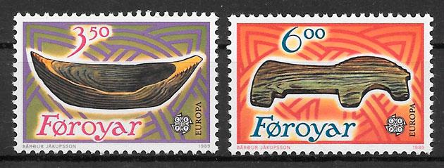 sellos Europa Feroe 1989