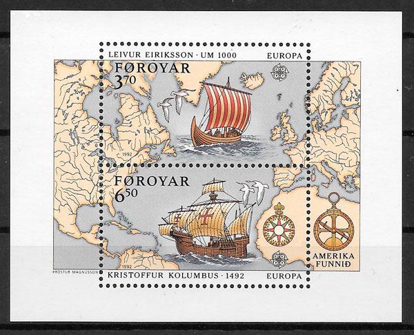sellos Europa Feroe 1992