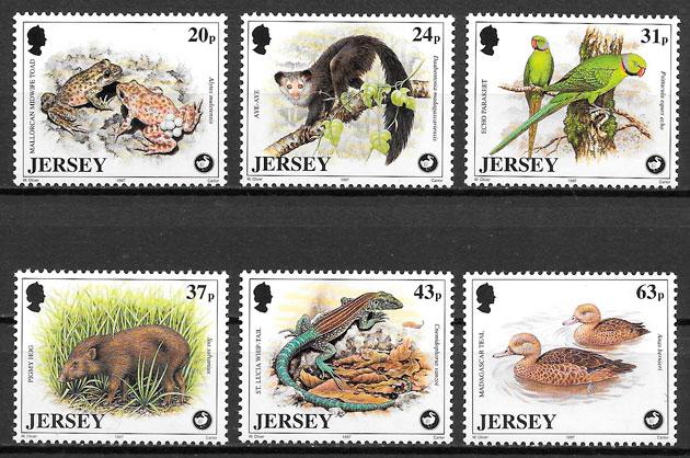 colección sellos fauna Jersey 1997