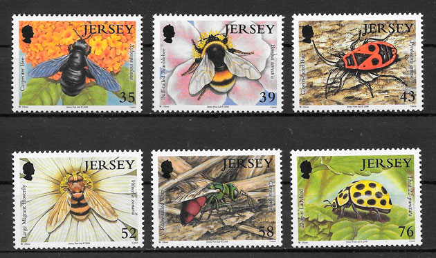 filatelia colección fauna Jersey 2008