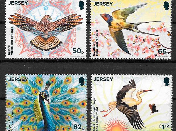 colección sellos fauna Jersey 2019