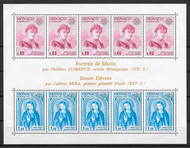 filatelia coleccion Monaco Europa 1975