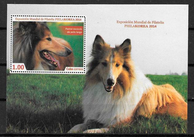 filatelia colección perros Cuba 2014