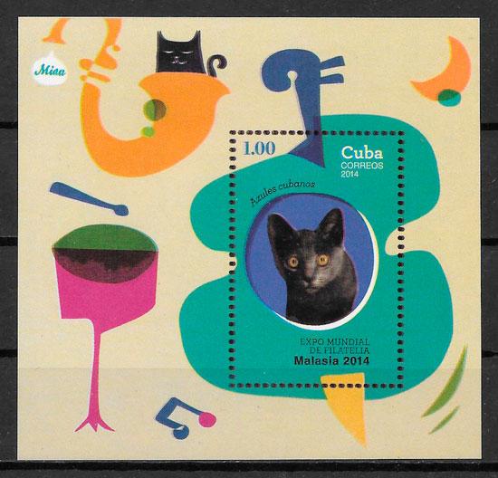 colección sellos gatos Cuba 2014