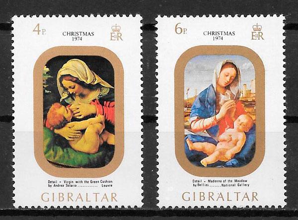 coleccion sellos navidad Gibraltar 1974