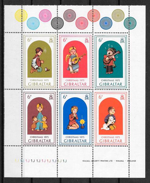 sellos navidad Gibraltar 1975