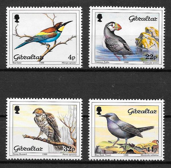 sellos fauna Gibraltar 1988