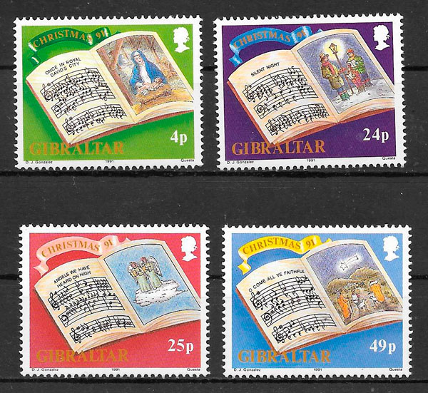 filatelia colección navidad Gibraltar 1991