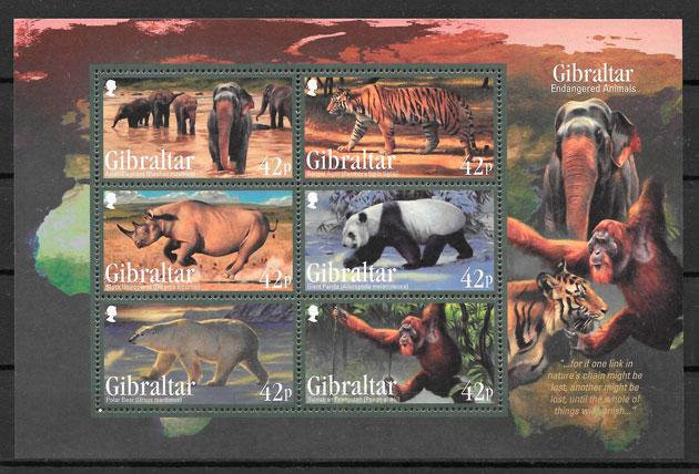 colección sellos fauna Gibraltar 2011