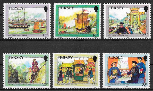 filatelia colección transporte Jersey 1992
