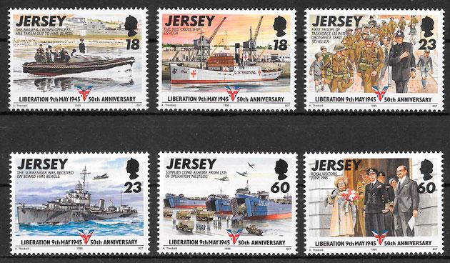 filatelia colección transporte Jersey 1994