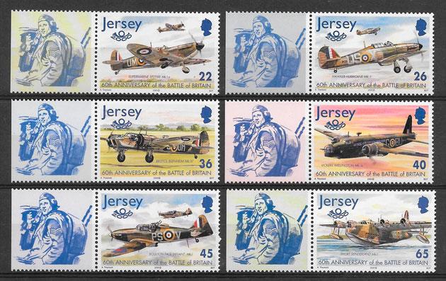 filatelia colección transporte Jersey 2000
