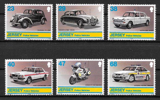 filatelia coleción transporte Jersey 2002