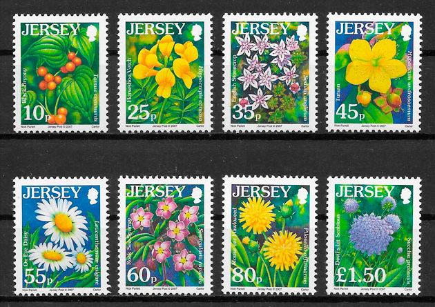 filatelia colección flora Jersey 2007