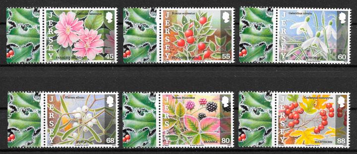 filatelia colección flora Jersey 2013