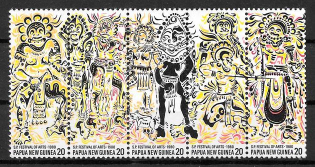 filatelia colección pintura Papua y Nueva Guinea 1980