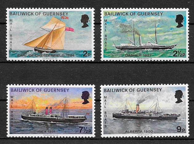 filatelia colección transporte Guersey 1972