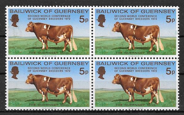 filatelia colección fauna Guersey 1972