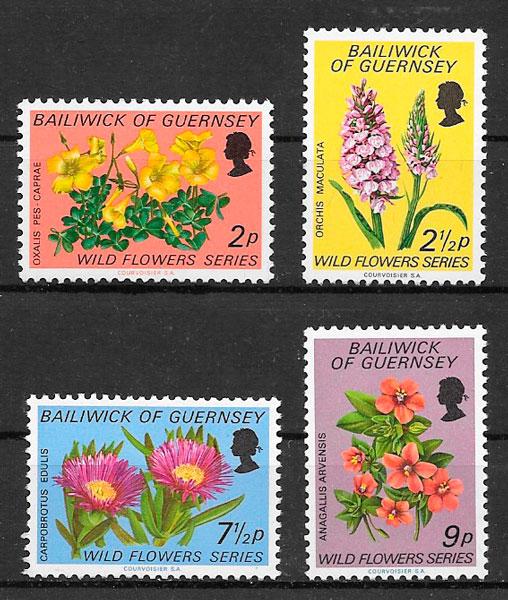 filatelia colección flora Guernsey 1972