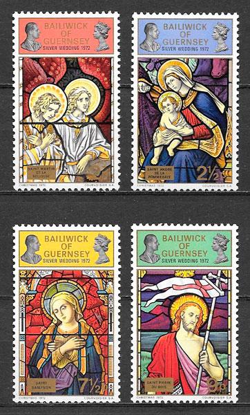 colección sellos navidad Guernsey 1972