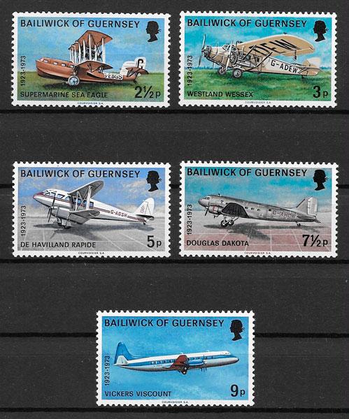 colección selos transporte Guernsey 1973