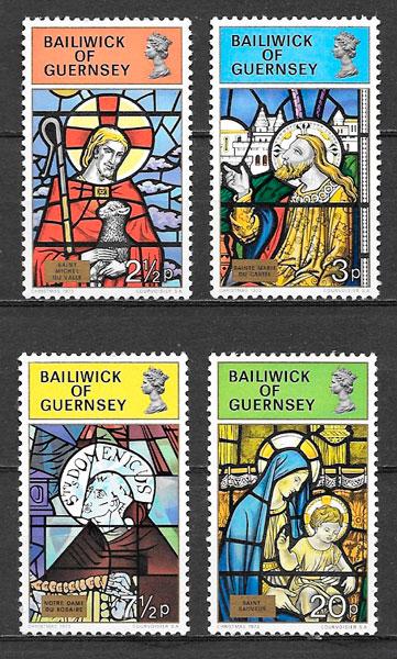 colección selos navidad Guernsey 1973