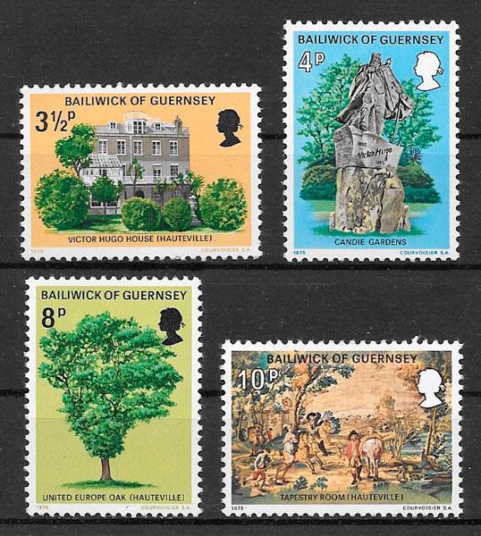 colección sellos personalidades Guersey 1975
