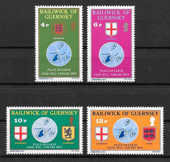 colección sellos navidad 1975 Guernsey