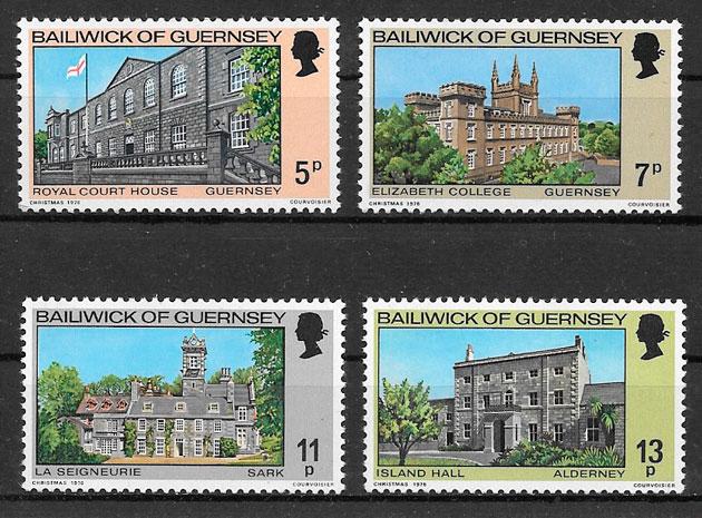 sellos navidad Guernsey 1976