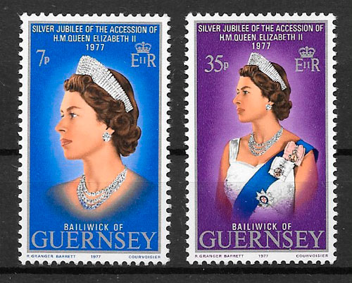 sellos personalidad Guernsey 1977