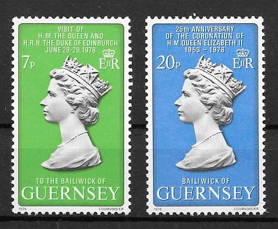 filatelia colecion personalidades Guernsey 1978