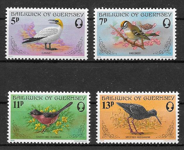 colección sellos fauna Guernsey 1978