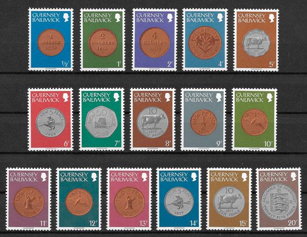colección sellos temas varios Guernsey 1979