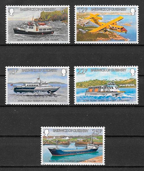 sellos transporte Guernsey 1981