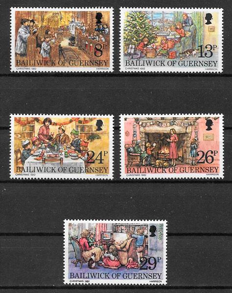colección sellos navidad Guernsey 1982