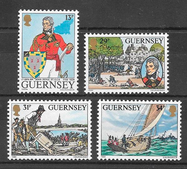 sellos personalidades Guernsey 1984